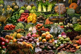 Market full of fresh and colourful vegetables.